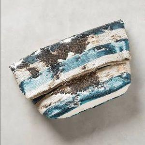 Anthropologie Shimmer Sequin Foldover Clutch